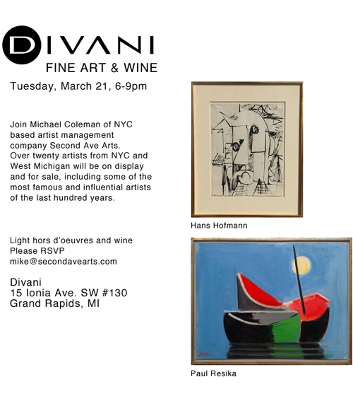 Divani - Fine Arts and Wine - Tuesday March 21, 6 to 9 PM